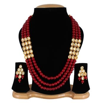 Wedding Kundan Pearl Beads Necklace set for Women Party Wear