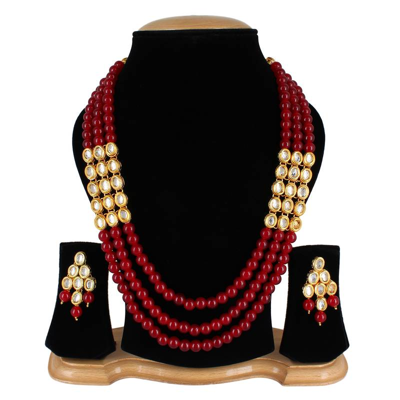 efde997db0b1a Wedding kundan pearl beads necklace set for women party wear