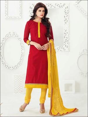 Red embroidered chanderi unstitched  salwar with dupatta