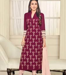 Buy Purple embroidered georgette unstitched  salwar with dupatta party-wear-salwar-kameez online