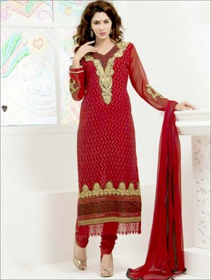 Maroon embroidered georgette semi stitched  salwar with dupatta