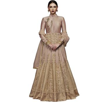 Dark-beige embroidered silk salwar with dupatta