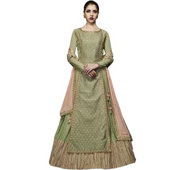 Lime embroidered georgette Anarkali Suit