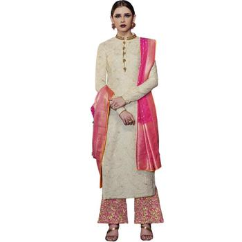 White embroidered tussar silk salwar with dupatta