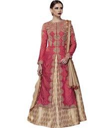 Buy Red embroidered silk salwar with dupatta party-wear-salwar-kameez online