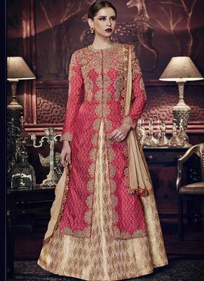 Red embroidered silk long salwar with Lehenga
