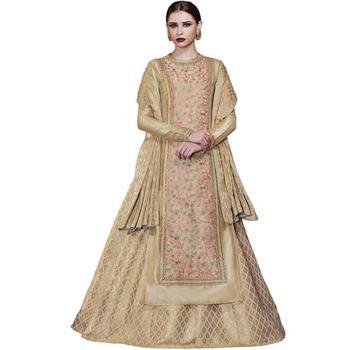 Beige Embroidered Tussar Silk Salwar With Dupatta