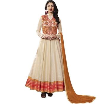 Off-white embroidered jacquard Anarkali Suit