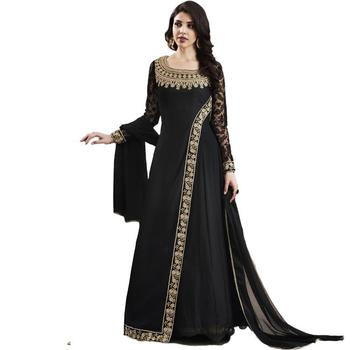 Black embroidered silk salwar with dupatta