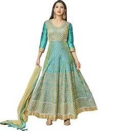 Buy Sky-blue embroidered silk salwar with dupatta silk-salwar-kameez online