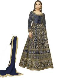 Buy Blue embroidered silk salwar with dupatta silk-salwar-kameez online