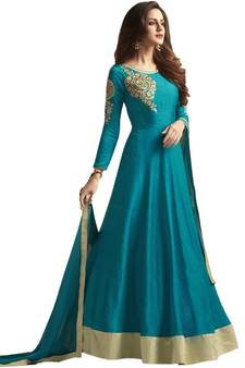 0ab824357d1d Sky-blue embroidered silk Anarkali Suit