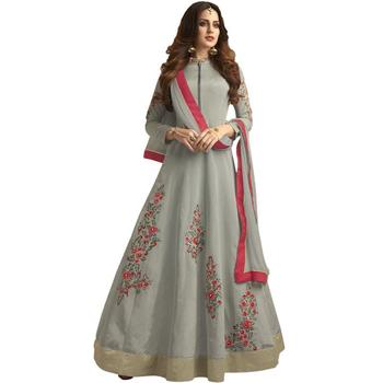 Grey embroidered taffeta Anarkali Suit