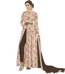 Buy Off-white embroidered georgette salwar with dupatta long-dress online