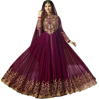 Violet embroidered georgette Anarkali Suit