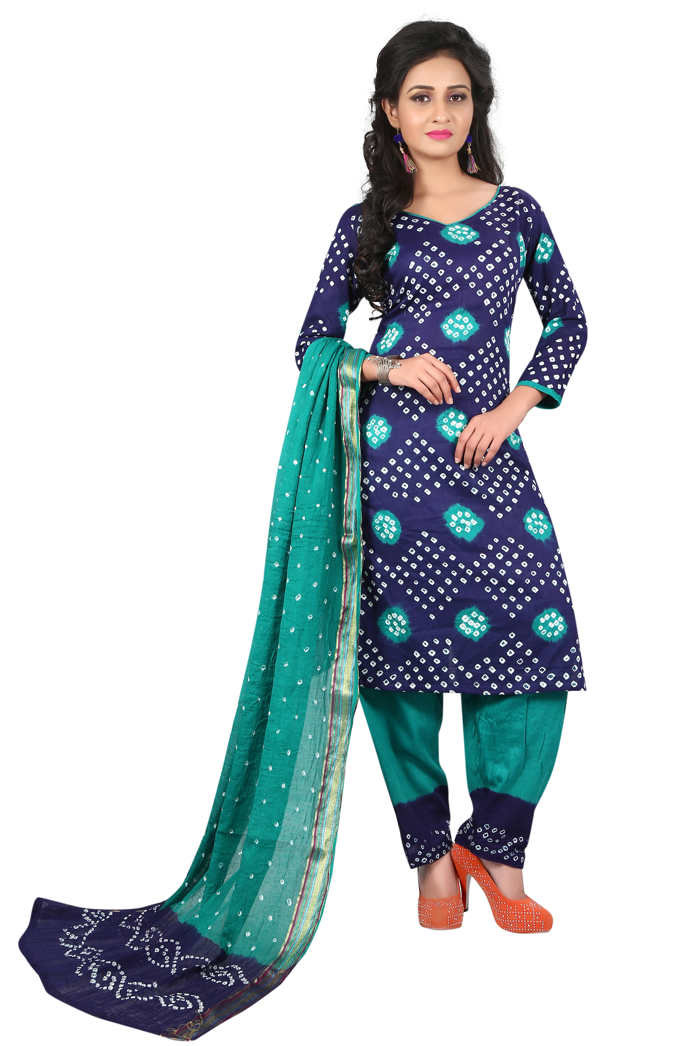Buy dark blue Colour Satin Cotton Salwar Suit Dupatta Bandhani Dress Material line