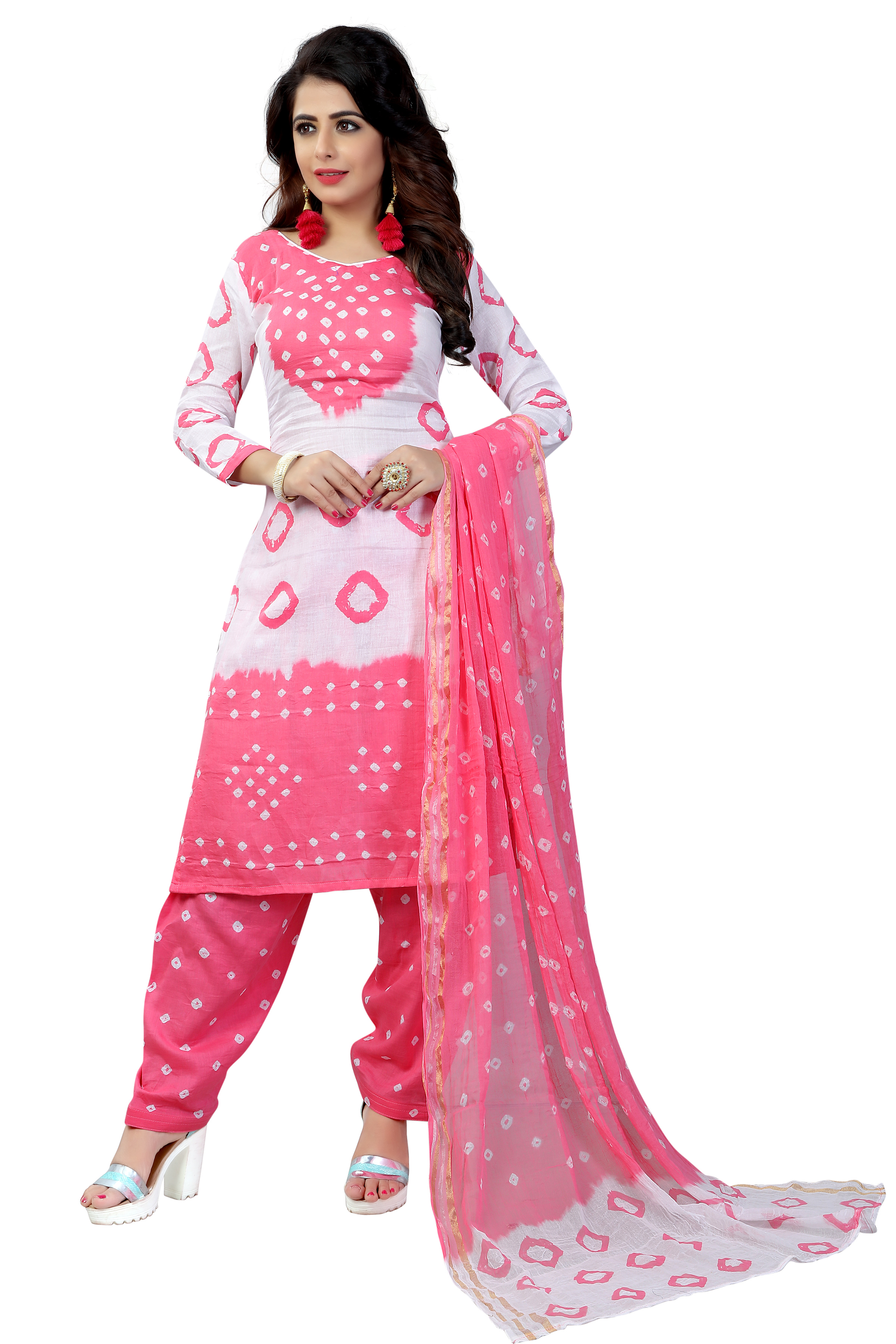 Buy pink Colour Satin Cotton Salwar Suit Dupatta Bandhani Dress Material line