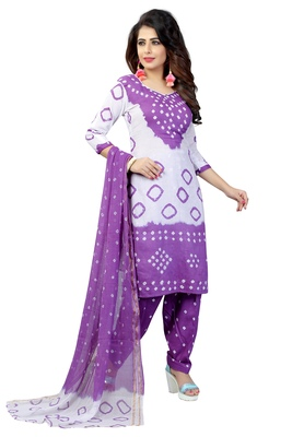 8bfae0d438 purple Colour Satin Cotton Salwar Suit Dupatta Bandhani Dress Material