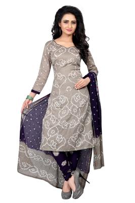 b28a19e769 grey Colour Satin Cotton Salwar Suit Dupatta Bandhani Dress Material ...
