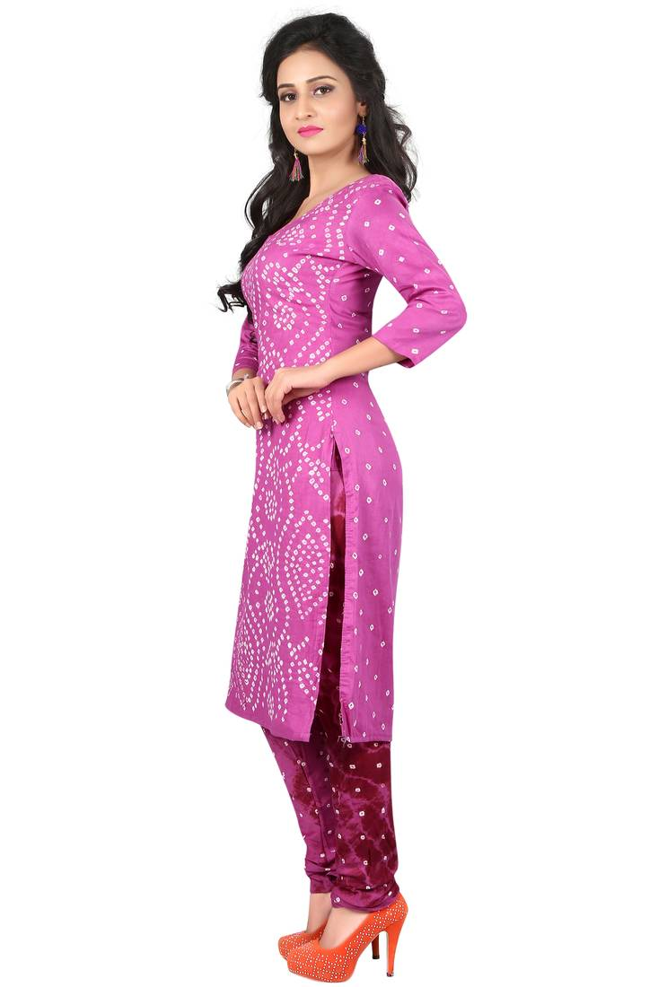 d9be57a169 ... purple Colour Satin Cotton Salwar Suit Dupatta Bandhani Dress Material
