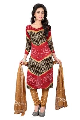5e8f5d137e multicolor Colour Satin Cotton Salwar Suit Dupatta Bandhani Dress Material
