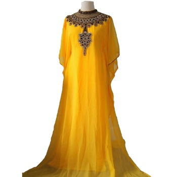 Yellow georgette zari work stones and beads embellished islamic style arabian look party wear farasha