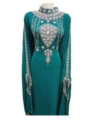 Turqoise georgette zari work stones and beads embellished islamic style arabian look party wear farasha