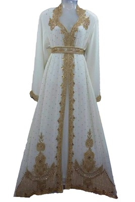 White georgette zari work stones and beads embellished islamic style arabian look party wear kaftan