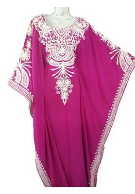 Pink georgette aari work stones and beads embellished islamic style arabian look party wear farasha