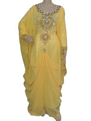 Yellow georgette zari work stones and beads embellished islamic style arabian look party wear farasha