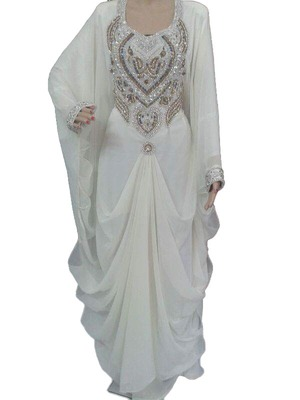 White georgette zari work stones and beads embellished islamic style arabian look party wear farasha