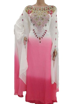 Multicolor georgette zari work stones and beads embellished islamic style arabian look party wear farasha