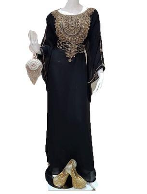 Black georgette zari work stones and beads embellished islamic style arabian look party wear farasha