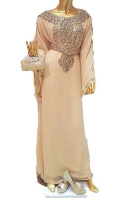 Beige georgette zari work stones and beads embellished islamic style arabian look party wear farasha