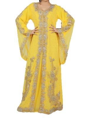 Yellow georgette zari work stones and beads embellished islamic style arabian look party wear kaftan