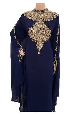 Blue georgette zari work stones and beads embellished islamic style arabian look party wear farasha