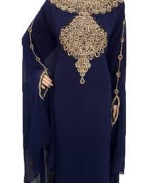 Blue georgette zari work stones and beads embellished islamic style arabian look party wear farasha