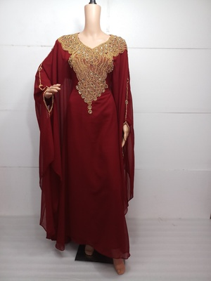 Red georgette zari work stones and beads embellished islamic style arabian look party wear farasha