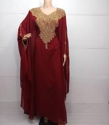 Buy Red georgette zari work stones and beads embellished islamic style arabian look party wear farasha farasha online