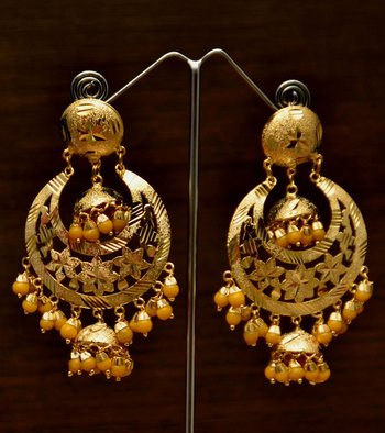Gold Plated Dangler Beaded with Jhumka Style Earrings for Women