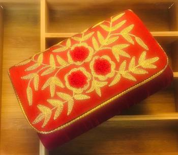 Embroidred Raw silk fabric clutch