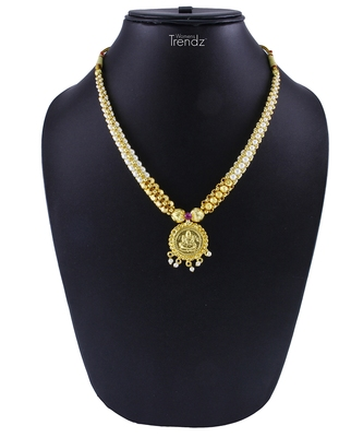 Traditional Handmade White Crystal & Laxmi Pendal Jewellery For Womens and Girls