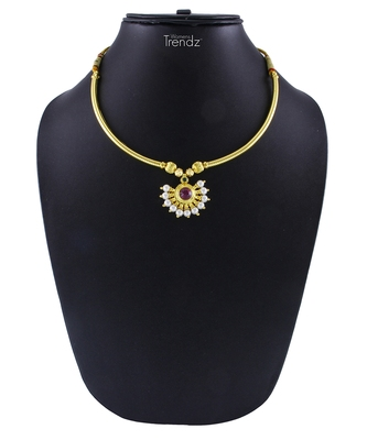 Traditional Handmade Thushi And White Crystal Pendal Jewellery Necklace for Womens and Girls