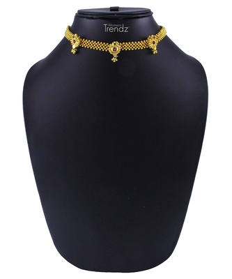 Traditional Handmade 24K Gold Plated Jewellery Short Necklace/Haar For Women And Girls