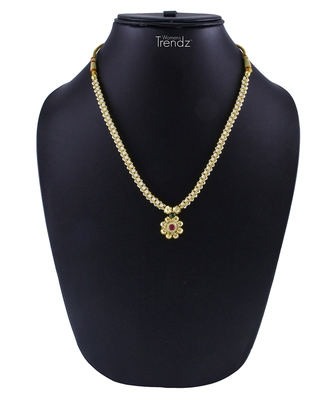 Traditional Handmade White Crystal And Golden Pendal Jewellery Alloy Necklace for Women and Girls
