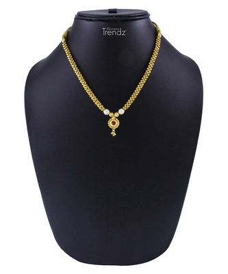 Traditional Handmade Gold Plated Jewellery Red Crystal Pendal Alloy Necklace For Womens