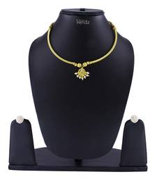 Traditional Handmade Jewellery Antique Chandrakor Pipe Thushi Necklace And Earring Set For Women And Girls