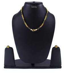 Traditional Handmade Gold And Black Crystal Jewellery Haar/Necklace And Earring Set For Women And Girls