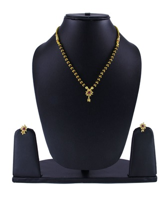 Traditional Handmade Jewellery Kolhapuri Gold Plated Alloy Necklace And Earring Set For Women And Girls