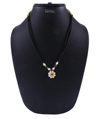 Traditional Handmade Jewellery White Crystal Pendal 24K Gold Plated Mangalsutra For Womens
